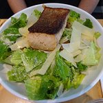 Nice Caeser Salad with a salmon add on. Nicely prepared and presented. Tasted great.