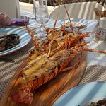 Lobster thermiidor. You can see that it is a bar overlooking a beach.