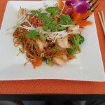 Pad Thai noodle dish with shrimp