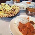 garlic naan, coconut rice, butter chicken