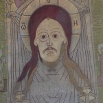 Unhappy saint on a St Basils tapestry