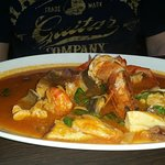 Fish soup.   Served though...on a platter with bread but was alittle salty.  Could not eat it al