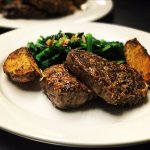 Filet Mignon with Broccoli Rabe in a Garlic & Oil Sauce