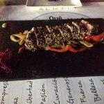 El tataki de atún que tomamos en el restaurante terraza del Hotel. Exquisito.