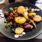 Salade de gésiers frais, avec Pleurottes pignon de pin et pommes de terre sarladaises