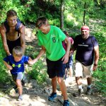 The younger ones need help on this trail