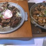 Chargrilled beef (left) and chicken (right)