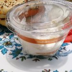 cream cheese - nice that they use compostable containers, but just put the cheese on the plate!