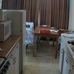 Kitchen had all necessary items, nice dining space.