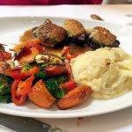 Gorgonzola Crusted Beef Medallions (t2oz tournedos, Marsala sauce, roasted veggies, mashed potat
