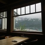 Charming little restaurant overlooking Prince William Sound and mountains.
