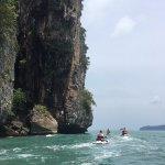 Exploring the cliff rock faces
