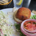Bubbas famous crabcake sandwich w/side of home-made slaw!