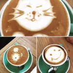 The coffee art certainly puts a smile on your dial!