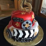 Special 75th birthday cake representing the movie industry.
