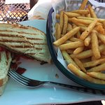 Eggplant sandwich with fries
