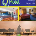 The Q Motel with Logo, Reception, Suite with Balcony and Restaurant