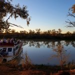 Boat landing on the Thomson river, to view a perfect outback sunset