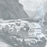 Alte Zeichnung der Hotelanlage mit Garten