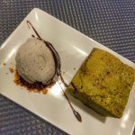 Delicious green tea brownie and sesame ice cream.