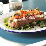 Smoked salmon, capers, red onion, cream cheese and horseradish open sandwich
