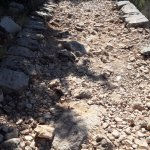 Rocky path adjacent to cable car