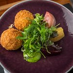Fish cakes and heritage beetroot