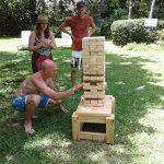 A test of nerves, our giant-sized Jenga game.