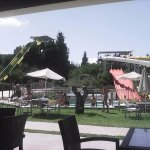 view of the slides from the small cafe area at the waterpark
