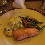 Salmon with mash and veg
