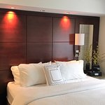 Comfortable bed, adjustable lights over headboard