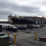 container ship headed out to sea