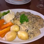 Chicken and mushroom in a white wine sauce