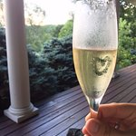 champagne for the newlyweds on the porch!