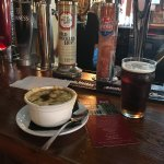 French Onion Soup and a pint at the Olde Angel Inn
