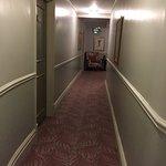 Lobby, hallway and courtyard.