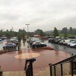 Wet morning outside village inn