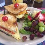 breakfast sandwich -- eggs, tomato, spinach