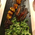 Smoked Pork Belly App: Rosemary Baked Potatoes, Sundry Cranberries/Marsala Compote, Organic Arug