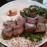 Lamb Kabob, Tabouleh and Hummus