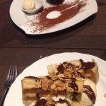 Moelleux au chocolat et gaufre façon banana split