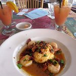 Shrimp & Grits with cocktails