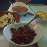 Khasi Jhol and Rim Jhim Duck with Pilau rice and Roti bread