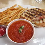Grilled Cheese Sandwhich with crispy Fries + cup of tomato soup ($14.50)