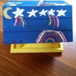 We were asked to paint a birdhouses going with the theme of the shooting star yurt