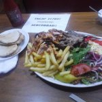 Mixed Lamb and Chicken plate with 2 pitta breads