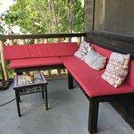 Bench sitting area outside on the veranda