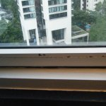 Window with peeling paint.