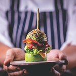 The signature Wagyu beef and foie gras burger with an avocado bun