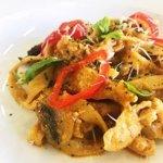 Spicy cajun chicken on tagliatelli pasta, with a creamy pepperdew sauce